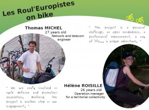 Thomas and Helene promoting their European bike tour