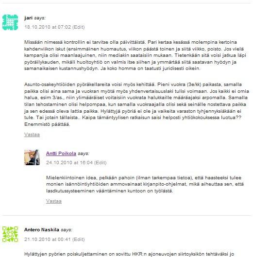 Esimerkki sisennetystä kommentoinnista, jossa Antti Poikola vastaa Jarin kommenttiin.