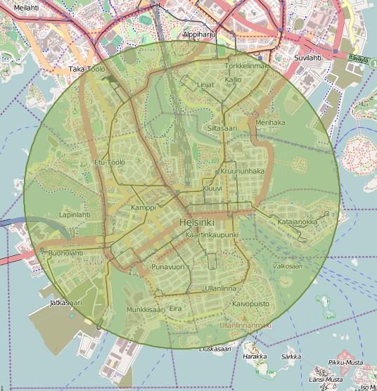 Helsingin niemi mahtuu lähes kokonaan 2km säteelle rautatieasemasta