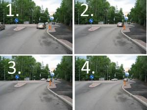 Juuri valmistunut minikokoinen kiertoliittymä Helsingin Kaarelasta. Kuvista 1-4 huomaa hyvin, kuinka suoraan tässäkin liittymässä voi ajaa. Kuvan 4 kohdalta pyöräilijän kuuluisi kääntyä jatkaakseen liittymässä kiertämistä.