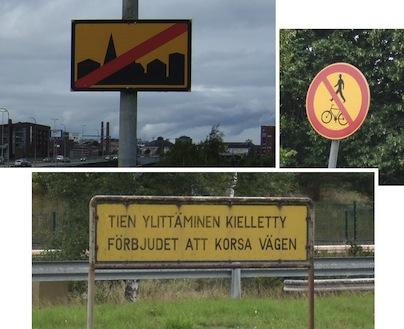 KIELLETTY. Asuminen kielletty. Ihmiset kielletty. Tällaiset merkit eivät kuulu kaupunkiin.