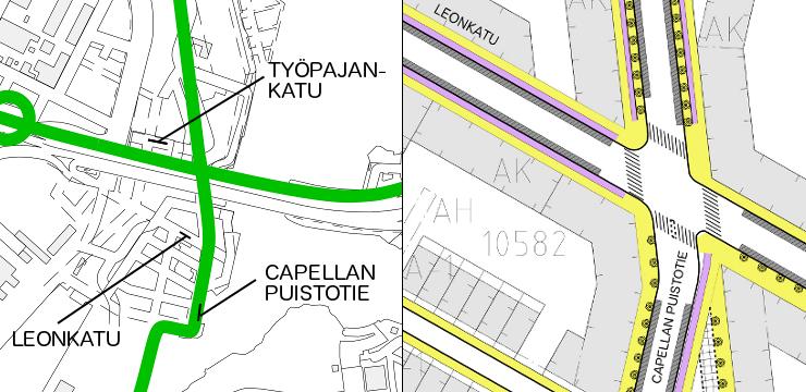 Baanaverkko ja Sörnäistenniemen liikennesuunnitelmaluonnos. Leonkadusta pohjoiseen yksisuuntaiset pyörätiet, Leonkadusta etelään kaksisuuntainen pyörätie.