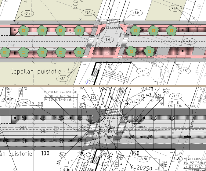 Capellan puistotie välillä Leonkatu - Työpajankatu. Katusuunnitelmassa (yllä) on yksisuuntaiset pyörätiet. Rakennussuunnitelmassa (alla) kaksisuuntainen pyörätie.