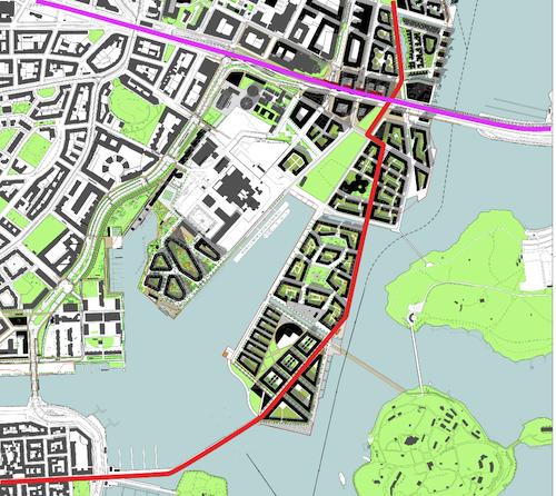 Jos siltayhteys vedetään Kruununhakaan, suorin reitti kulkee Junonkadun ja Aallonhalkojan kautta.