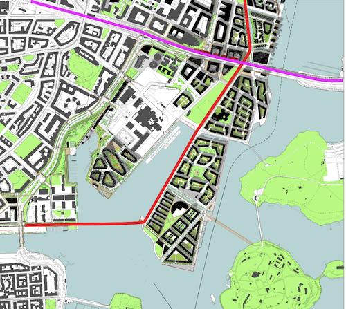 Jos siltayhteys tehdään Hakaniemeen, paras reitti baanalle kulkee Kalasataman puiston läpi ja Sompasaaren länsireunaa pitkin.