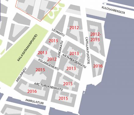 Kalasataman Sörnäistenniemen tulevia ja osittain jo rakennettuja katuja.