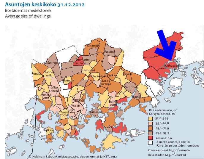 Östersundomissa sijaitseva Karhusaari ei liene kaikista kriittisimpiä paikkoja sijoittaa Helsingin niukkoja pyörätierahoja. Kuva: Helsingin tilastollinen vuosikirja 2013.