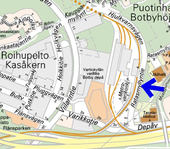 Ratasmyllyntie sijaitsee Roihupellon teollisuusalueella metrovarikon ja urheiluhallien välissä.