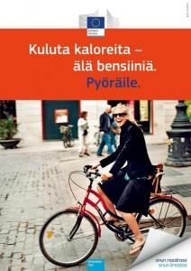 Pyöräily voidaan esittää myös positiivisesti, riskejä korostamatta.