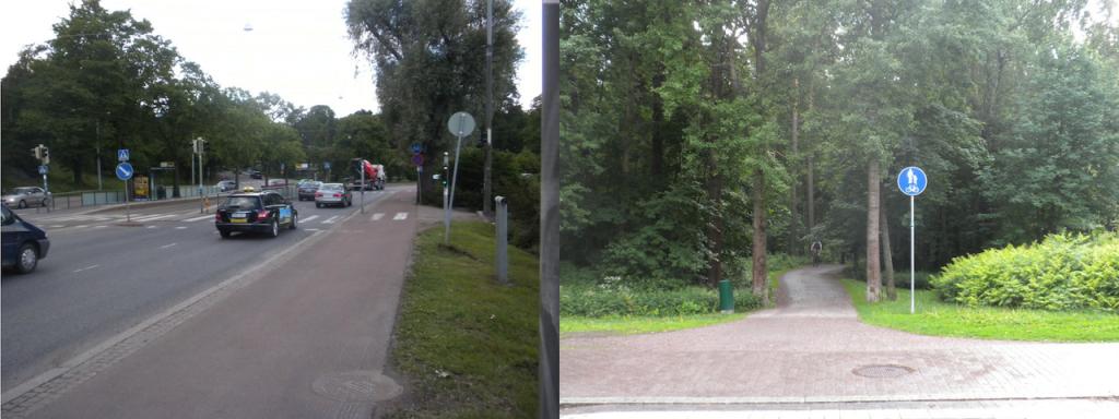 Vasemmalla kadunvarren pyörätie, oikealla metsäpyörätie.