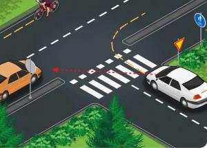 Jos pyöräilijän sallitaan noudattaa oikeanpuoleista liikennettä, oikealle kääntyvän auton ongelma katoaa. Kuva: Liikenneturva (muokattu)