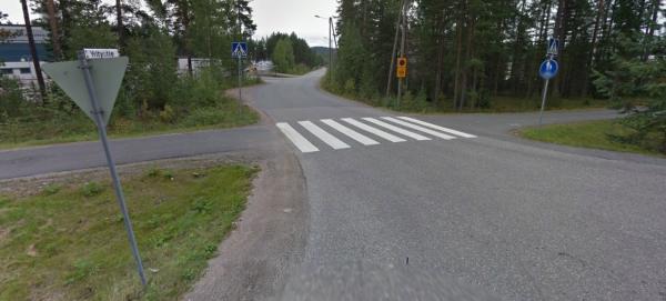 Kärkikolmio on laittomasti sijoitettu vaikutusalueen alkamisen jälkeen. Kuva: Jyväskylän kaupunkifillari