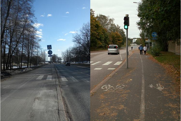 Mikään ei estä pystyttämästä pyörätielle liikennettä haittaavia tolppia.