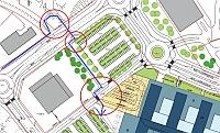 Kuvakaappaus asemapiirroksesta. Ongelmakohtia on merkitty punaisilla ympyröillä.