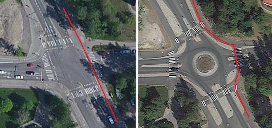 Pyöräilijän ajolinja ennen ja jälkeen liikenneympyrän rakentamisen.