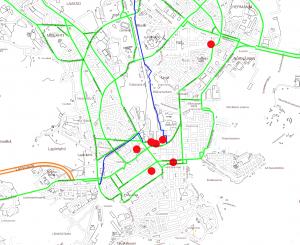 Työmatkaliikennettä palvelevat tärkeimmät pyöräilyn väylät, jotka ovat ensisijaisia hoidettavia. Lähde: HKR