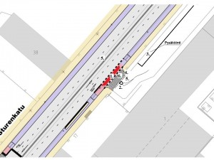 Kaupunkisuunnitteluviraston sivuilta kuvakaapattu kuva, mihin allekirjoittanut on lisännyt turvallisuutta lisääviä toimia. Ilmeisesti Sturenkadulla kohta 5 toteutuu, sillä muuten suunnitelmaan oltaisiin lisätty tiemerkintänuoli kohti Satamaradankatua.