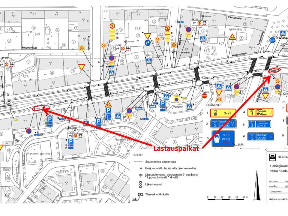 Uusitun Helsinginkadun liikenteen ohjaussuunnitelman osasuurennus. Uudelle kadulle mahtui vain kaksi lastauspaikkaa. Kenenkään muun paitsi kyseisen suunnitelman tekijän ei kannata ihmetellä pyöräkaistoille ilmestyviä kuorma- ja pakettiautoja. Ne ovat siellä koska niille ei ymmärretty antaa enempää tilaa. Uudistettu katu on valmiiksi vanhanaikainen. Helsingin liikkumisen kehittämisohjelman mukaan tavaraliikenne on priorisoitu yksityisautoliikennettä korkeammalle.