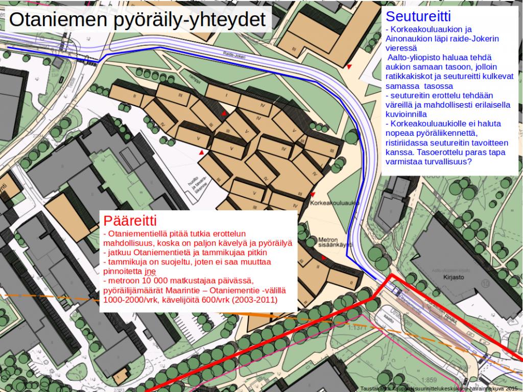 Punaisella merkitty laatureitti Otaniementieltä Tapiolaa kohti ja sinisellä jatkuu seutureitti Maarintietä Kehä I:lle.