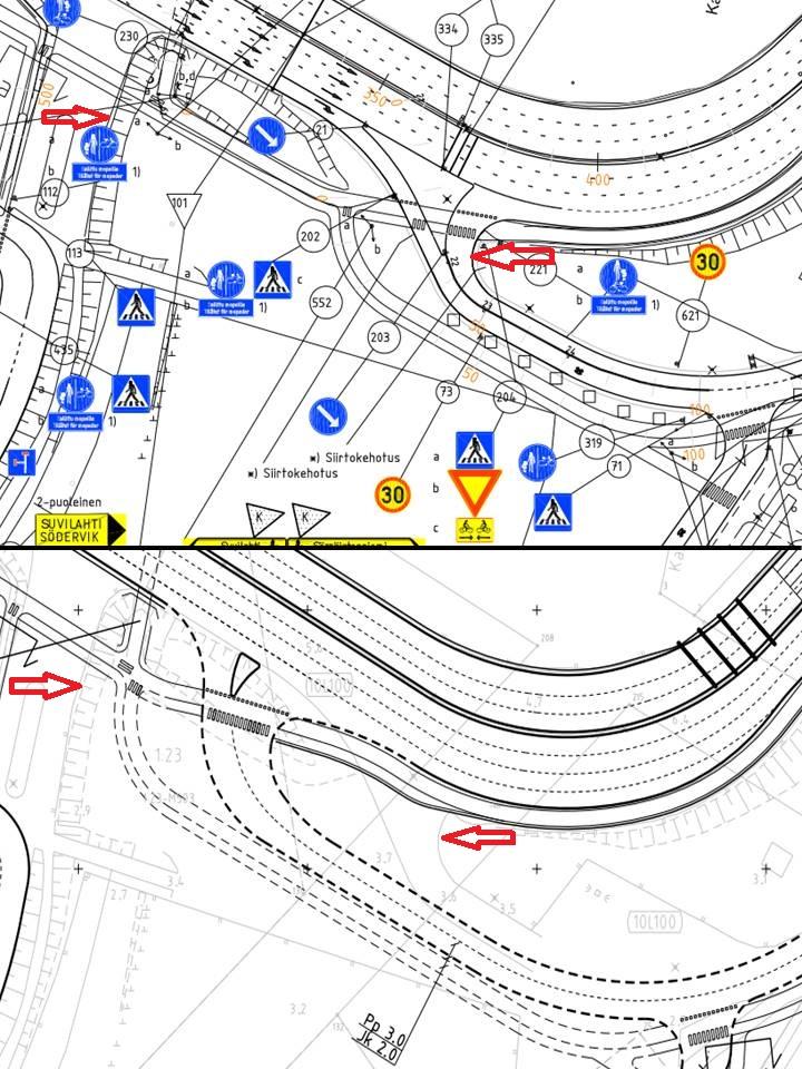 Ylempi kuva vuoden 2011 suunnitelmasta ja alempi maaliskuussa 2015 piirretyn asemapiirustuksen luonnos. Punaiset nuolet näyttävät samoja kohtia.