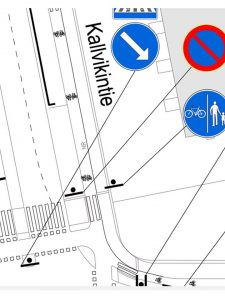 Osasuurennus liikenteen ohjaussuunnitelmasta.
