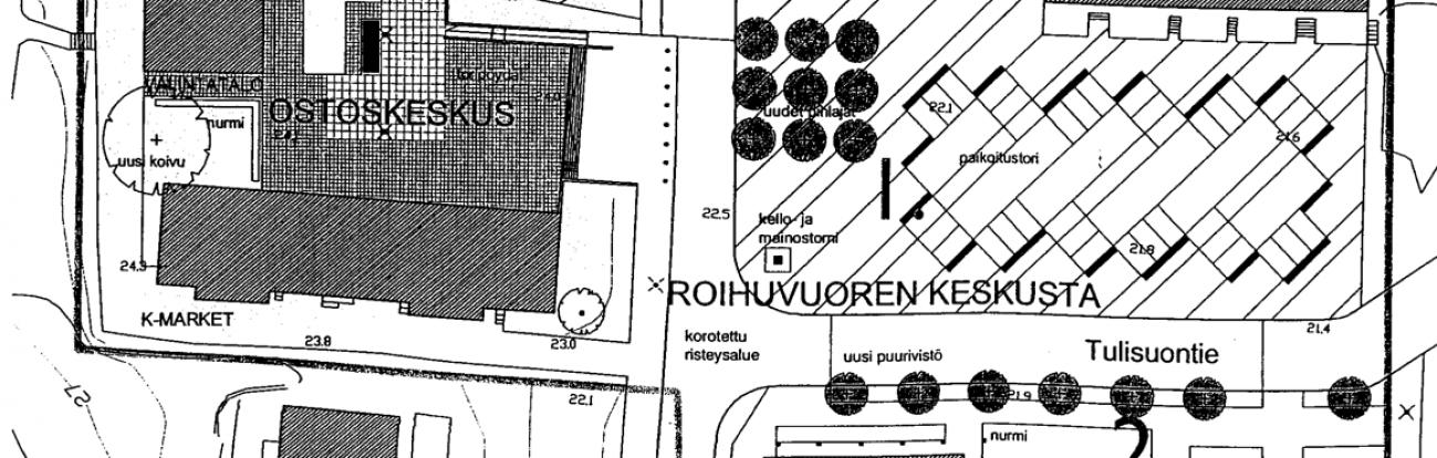 Vuonna 2004 tehty ehdotus Roihuvuoren keskustan kehittämiseksi.