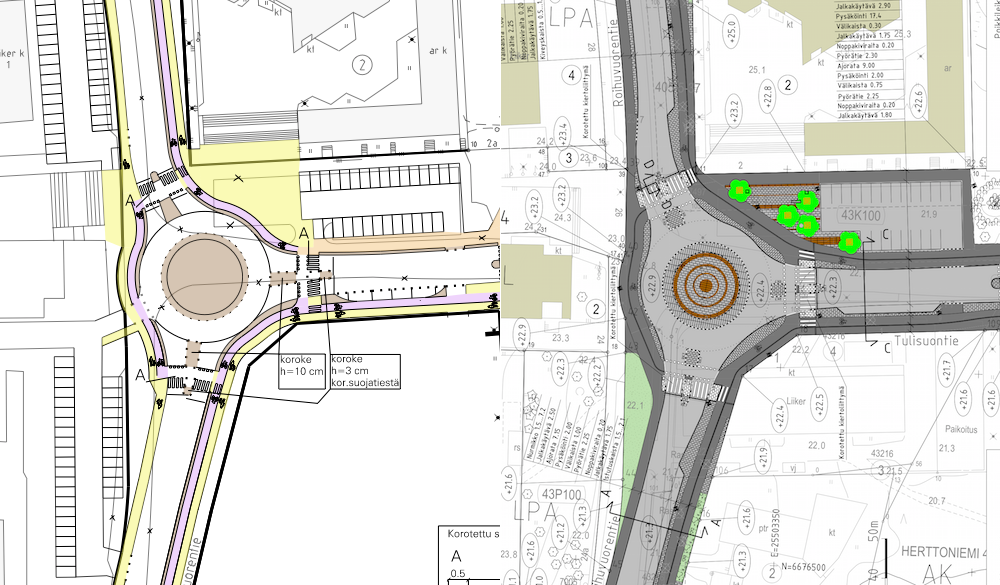 Liikennesuunnitelma vuodelta 2006 (vasen) ja katusuunnitelma vuodelta 2016 (oikea).